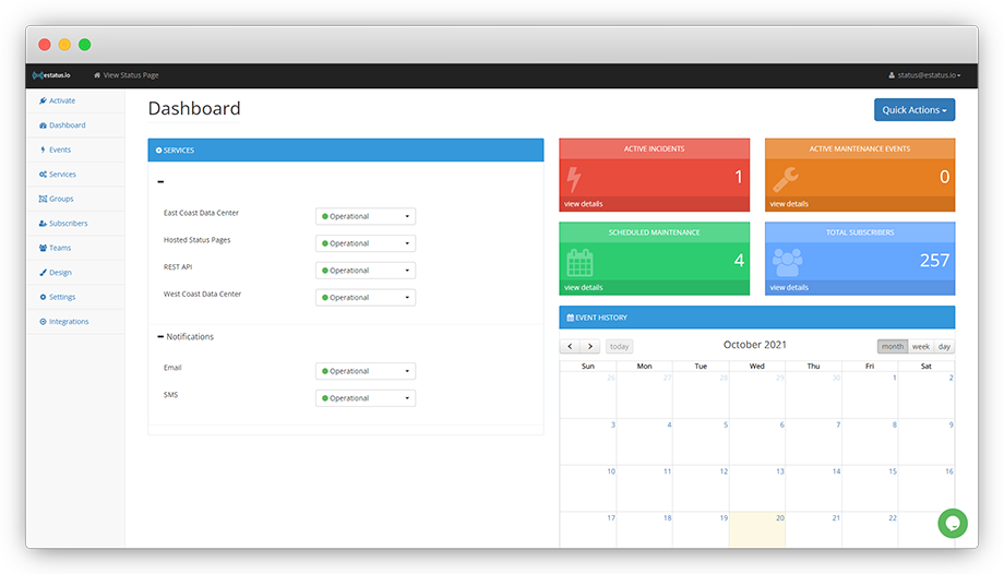 Status Page Dashboard